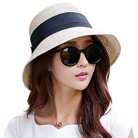 SIGGI Womens UPF50 Foldable Summer Sun Beach Straw Hats accessories Wide  Brim cf03a52a2e4
