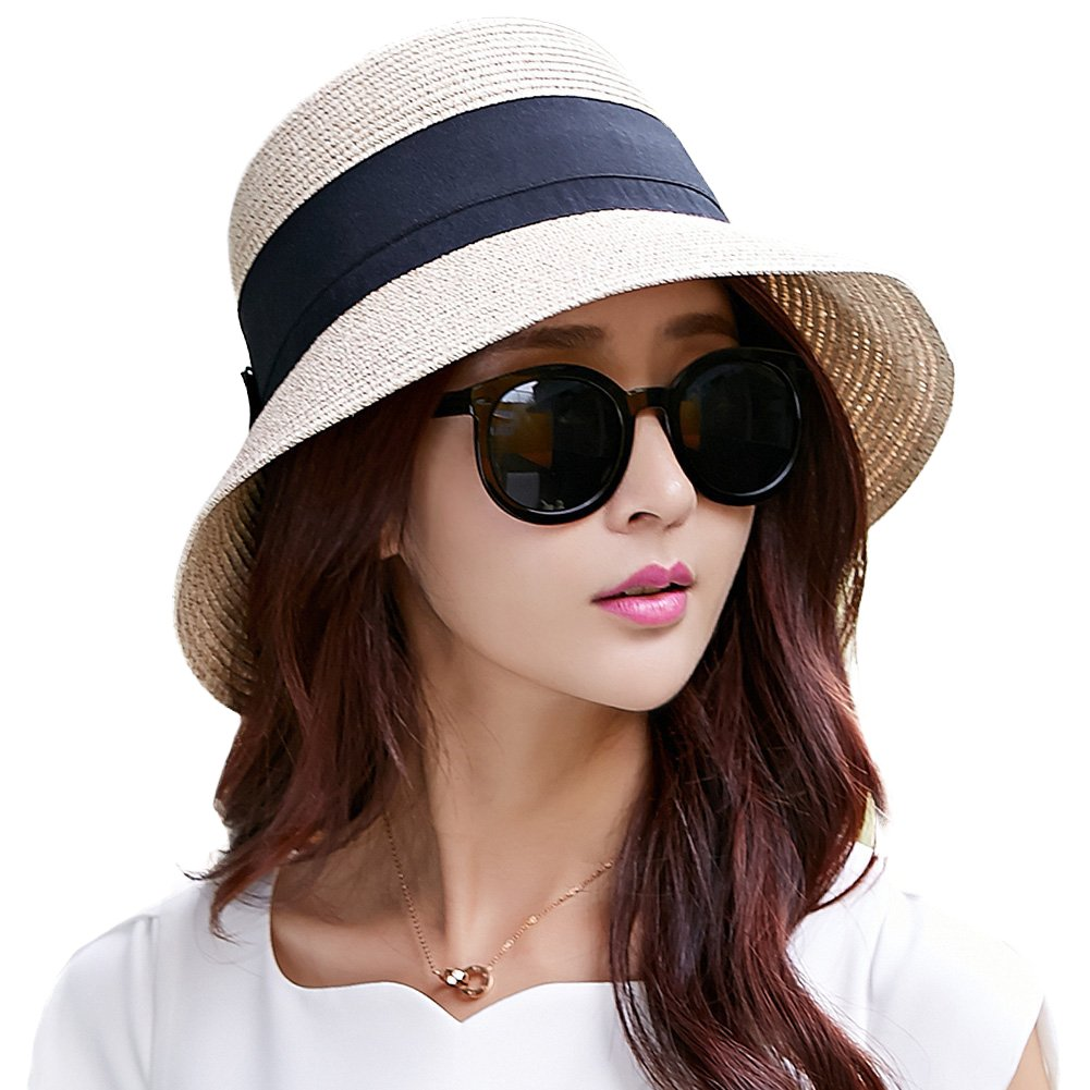 a000aec980f Ladies Summer Sun Hats Women Panama Straw Beach Hats Foldable Wide Brim  Floppy Fedora - UPF
