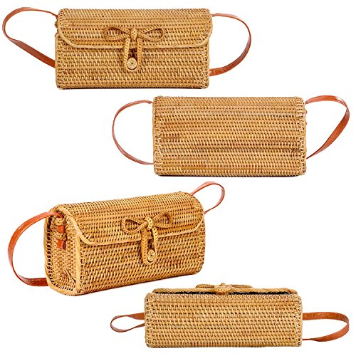 Bag with Tote Bag Handbag Woven Clasp Bali Square Crossbody Brown YaYa Large Beauty Bow Womens Ata Rattan F0SxvzT