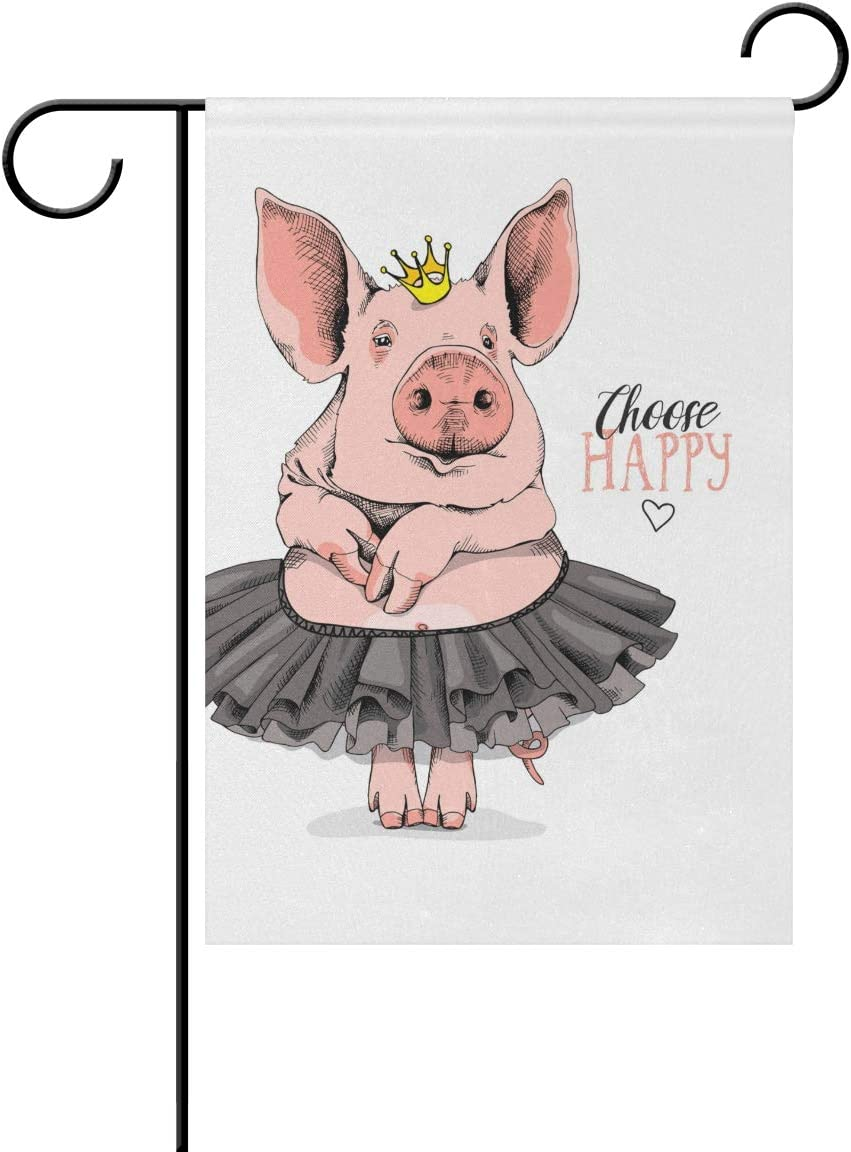 Tarity Choose Happy Ballet Pig Garden Flag Fall Autumn Winter Welcome Hello Yard Flag 12 x 18 in Double Sided Polyester Small Decorative House Flags for Home Farmhouse Patio Lawn Outdoor Decor