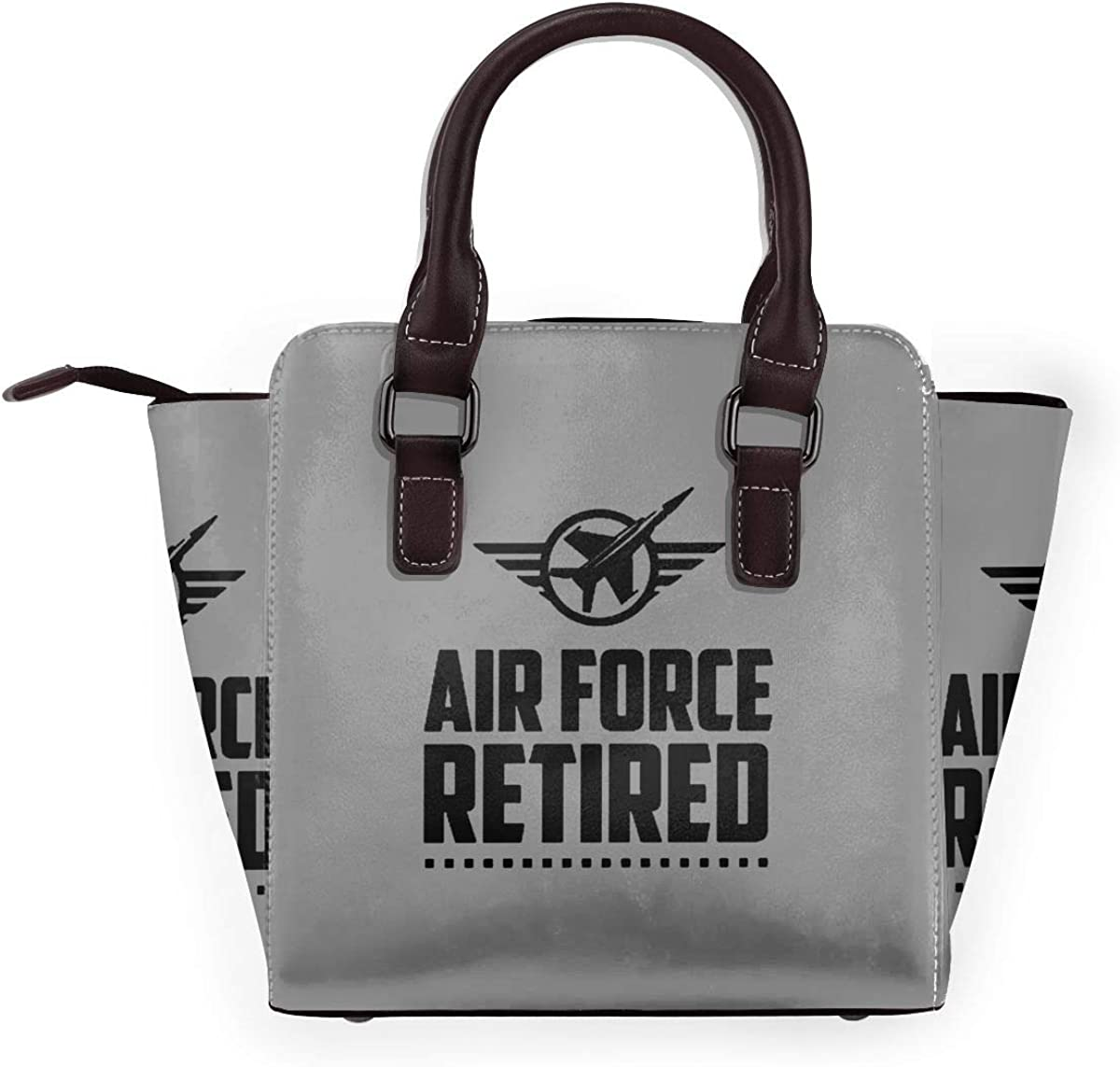 Your Text Here - Borsa a tracolla da donna, in vera pelle, con rivetto Us Air Force In Pensione