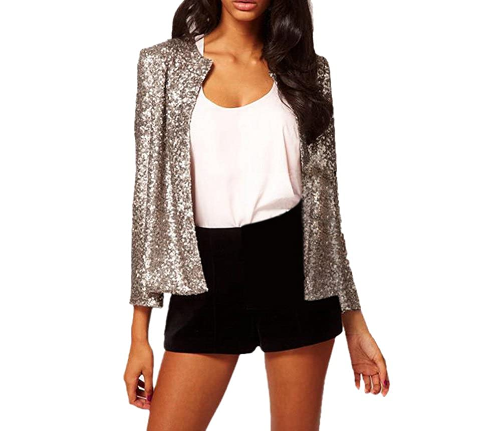 Womens Sparkly Sequin Collarless Long Sleeve Party Bomber Blazer ...