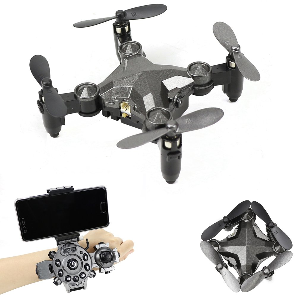 YMXLJJ RC Drone Folding Uhr Typ Fernbedienung Mini Quadcopter Wifi FPV Ausgestattet mit 0.3MP Kamera Gang Anpassung, Automatische Korrektur Funktion Weihnachtsgeschenk Grau