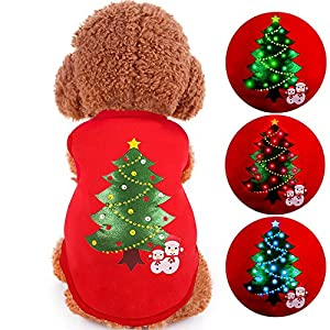 LED Light up Dog Sweater for Christmas oneisall Pet Dogs Shirts Costume Clothes for Holiday Festival Party XL
