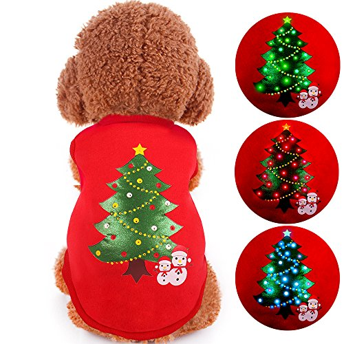 ONEISALL LED Light up Dog Sweater for Christmas Pet Dogs Shirts Costume Clothes for Holiday Festival Party L
