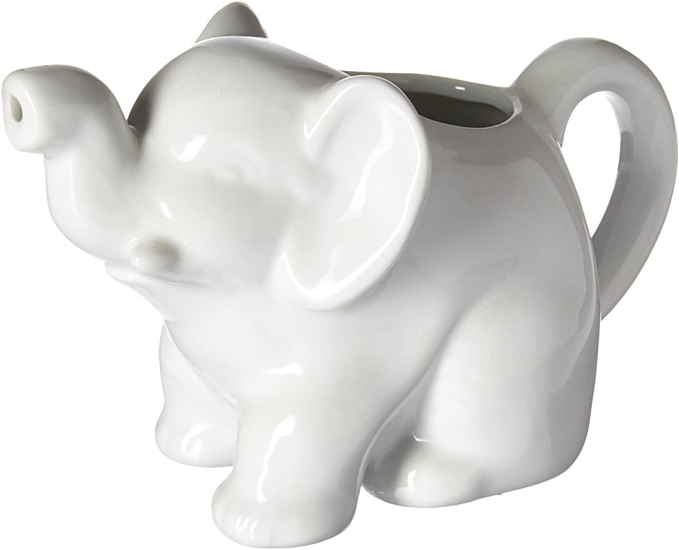 HIC Elephant Creamer with Handle, Fine White Porcelain, 9-Ounces