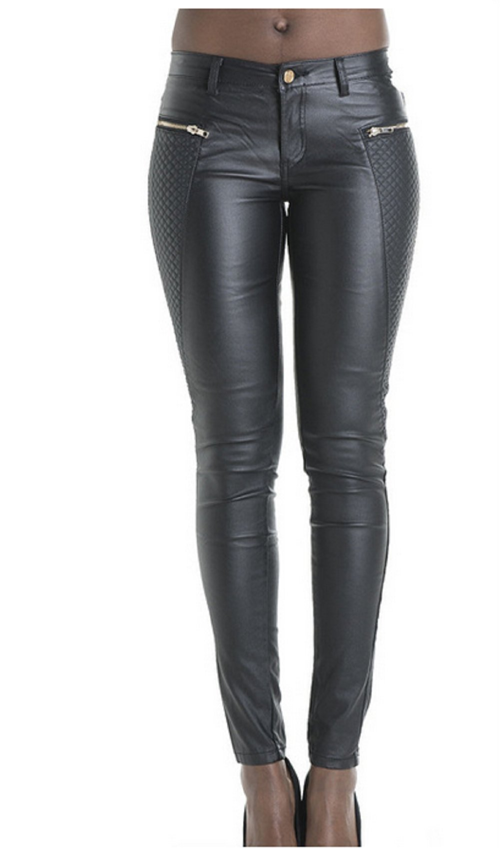 Unko Womens Slim Fit Embroidered Faux Leather Zipper Feet Pants US M Black