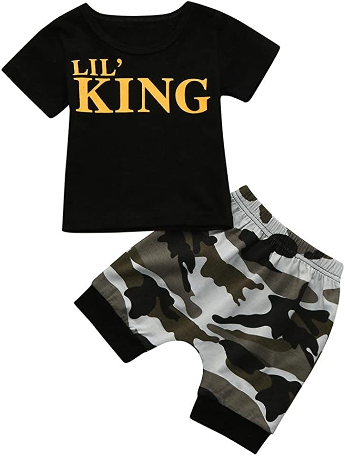 Pollyhb Children Baby Boys Letter T Shirt Tops+Camouflage Outfits Clothes Set