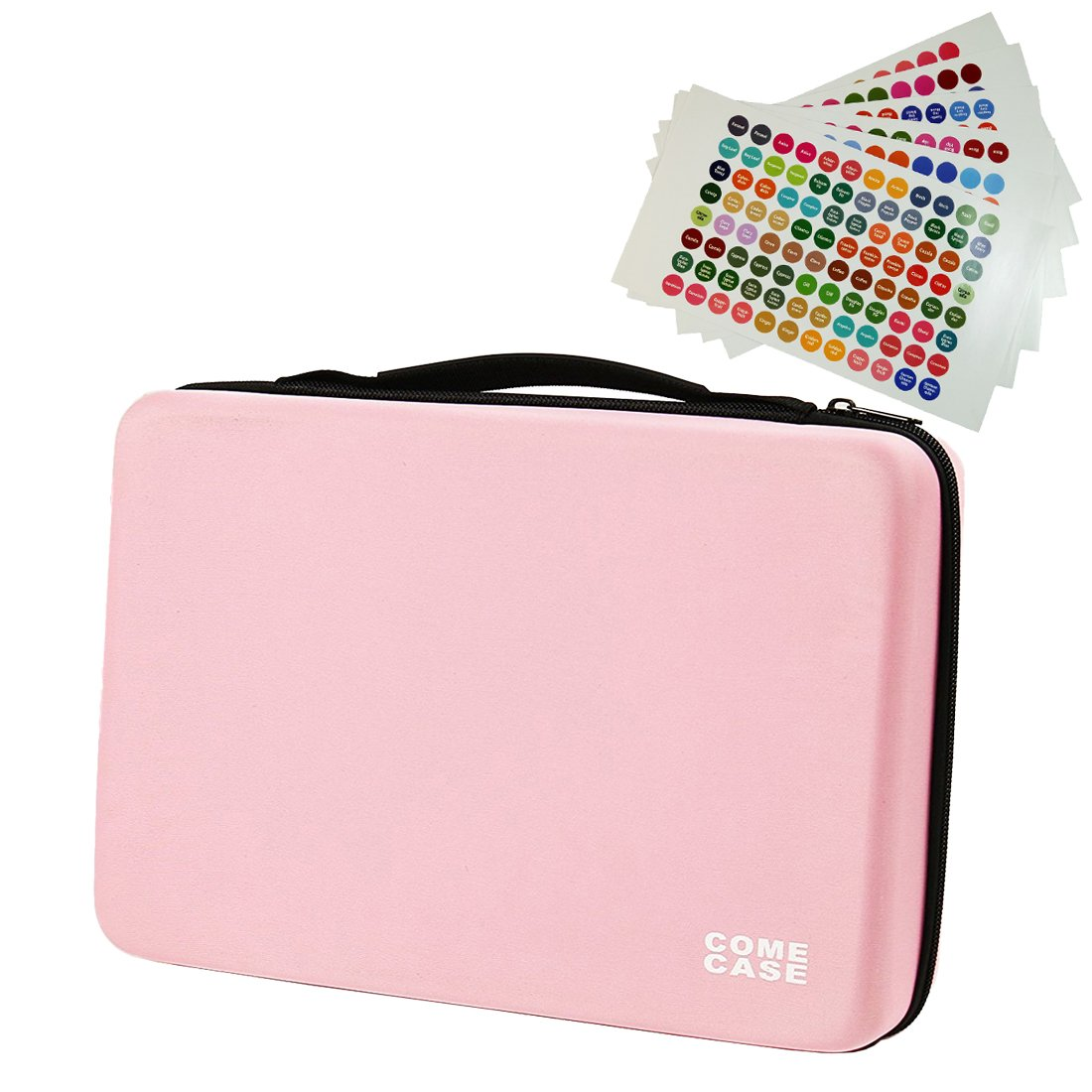 COMECASE 70 Essential Oil Carrying Case Includes Cap Labels. Holds 5ml 10ml 15ml Bottles with Hard Shell Exterior and Foam Insert Perfect for Travel Pink