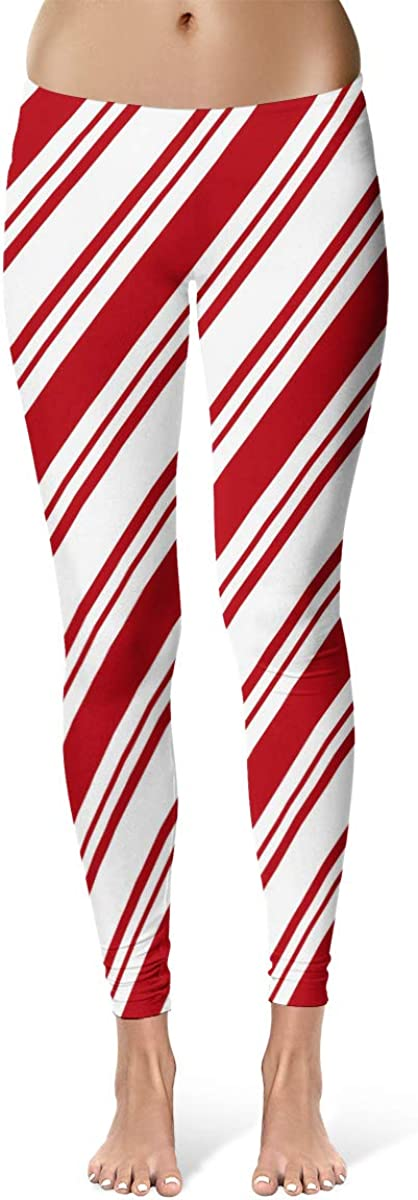 Emvency Red White Diagonal Stripes Candy Cane Pattern Christmas Peppermint Leggings Skinny Pants for Yoga Running Gym
