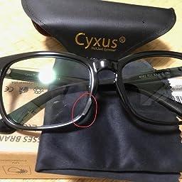 Amazon Cyxus シクサズ ブルーライトカットメガネ 透明レンズ Pcメガネ Uvカット ウェリントンタイプ 紫外線カット パソコン用メガネ 輻射防止 アンチグレア 睡眠改善 目の疲れを緩和する 原宿眼鏡 ファッション男女兼用 黒縁 標準サイズ Cyxus シクサズ