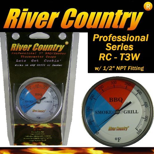 3' River Country (RC-T3W) Adjustable Professional BBQ, Grill, Smoker Thermometer (50 to 550F)