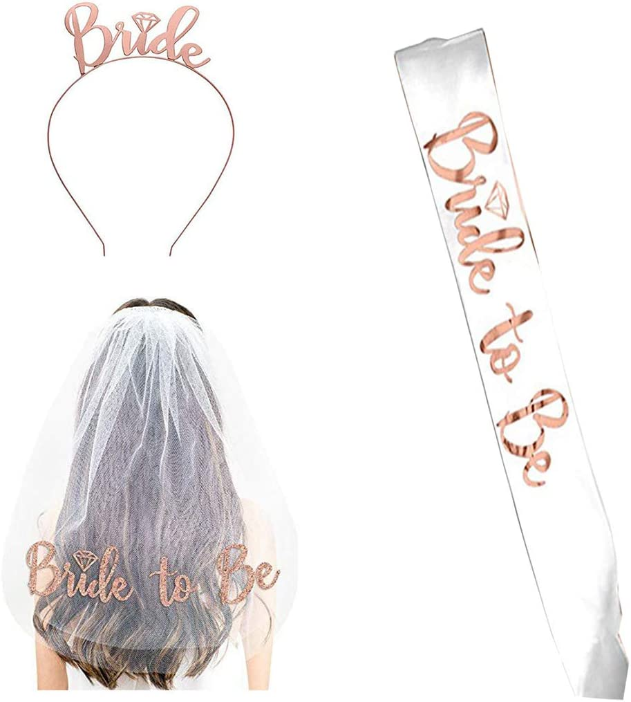 Bride to Be Set, 3pack Bride to Be Sash & Headband Tiara & Shoulder Length Veil Bachelorette Party Supplies ridal Shower Decoration Accessories