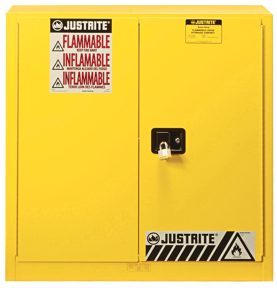 Justrite 893300 Sure Grip EX Safety Cabinet, 30 gallon - 2 manual doors, 35 x 36 x 24''