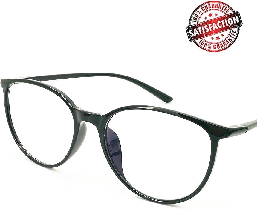 7d122293b167 Amazon.com  Reading Glasses - Blue Light Blocking - Round Women Men ...