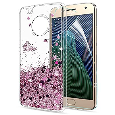 Moto G5 Plus Case,Moto G Plus 5th Generation Case with HD Screen Protector for Girl Women,LeYi Glitter Shiny Liquid Moving Quicksand Clear TPU Phone Case for Motorola Moto G5 Plus X 2017 ZX from LeYi