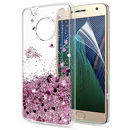 Moto G5 Plus Case,Moto G Plus 5th Generation Case with HD Screen Protector for Girl Women,LeYi Glitter Shiny Liquid Moving Quicksand Clear TPU Phone Case for Motorola Moto G5 Plus X 2017 ZX Rose Gold