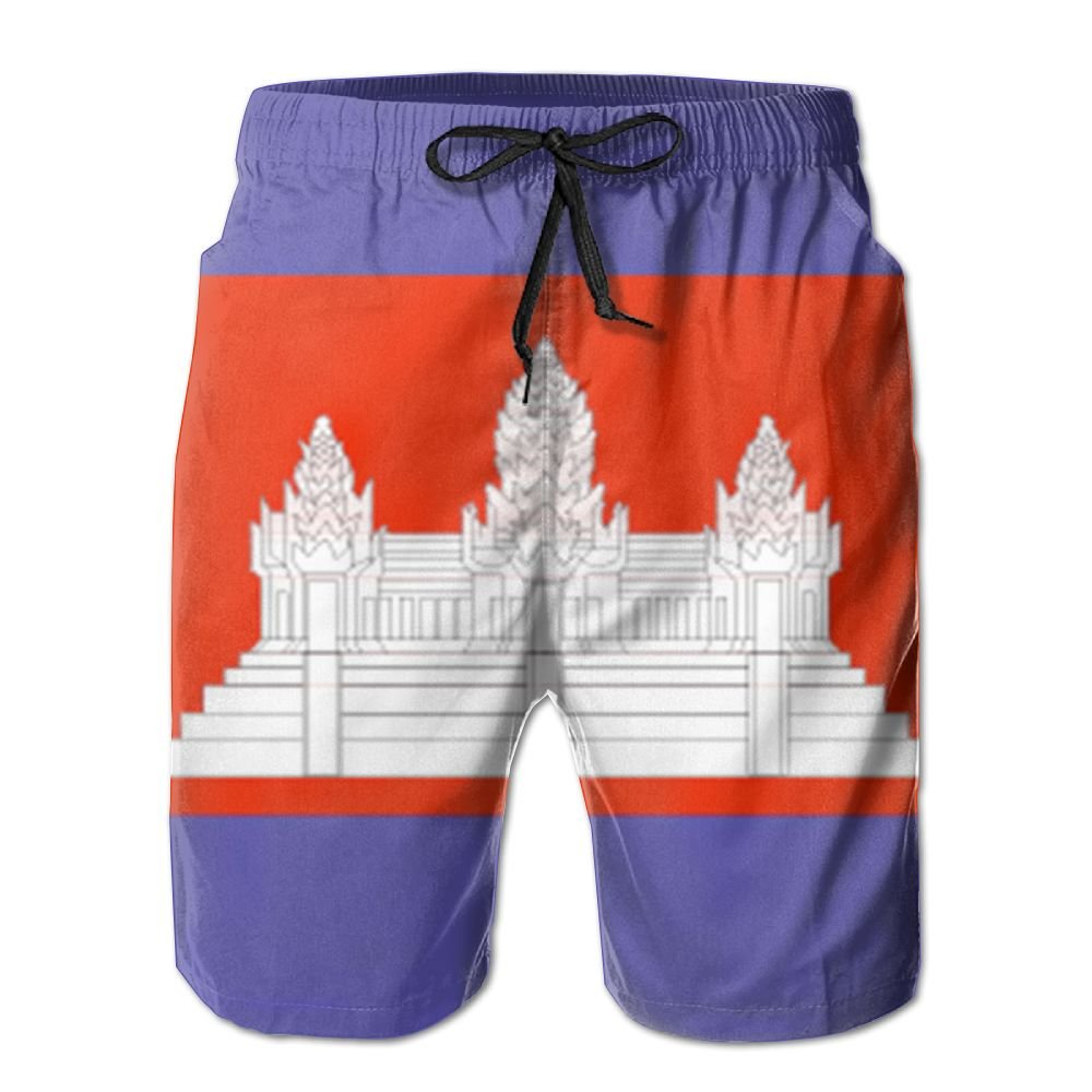 MIPU SHANGMAO Mens Cambodian Flag Summer Beach Shorts Leisure Quick Dry Swimming Pants