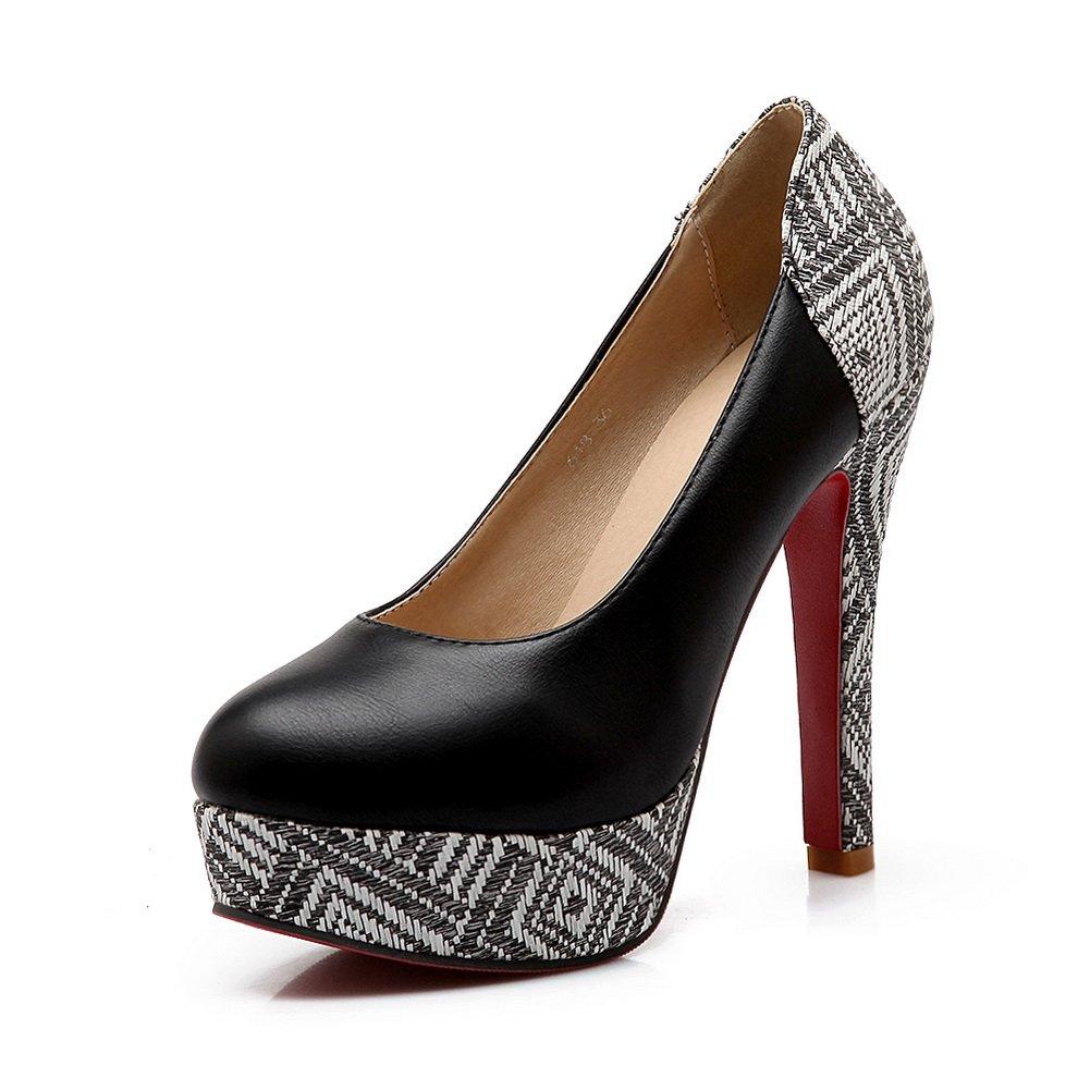 BalaMasa Ladies Color Matching Thick Bottom Heel Lattice Imitated Leather Pumps-Shoes B01ISHH5KE 12 B(M) US|Black