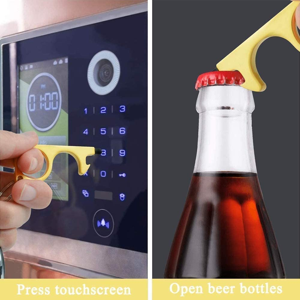 4 Pcs No Touch Door Opener,Elevator Press Stick,Keychain with Beer Bottle Opener Reusable Multifunctional Stylus Clean Key