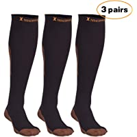 Thx4 Copper Knee High Compression Socks (15-20mmHg) for Men &Women, Guaranteed Copper Infused Stockings Guard for Running, Athletic, Shin Splint, Nursing, Travel- 3PAIRS (L/XL)