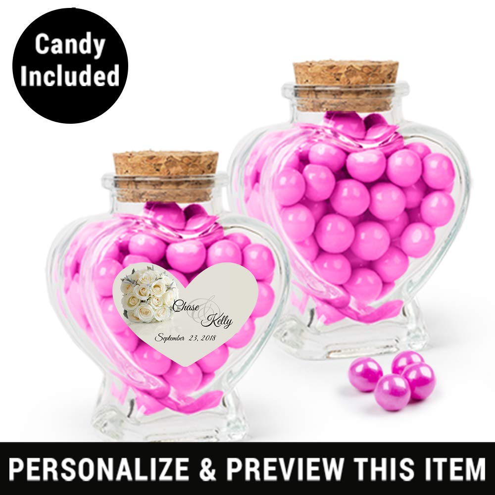 Amazon.com : Wedding Favors Personalized Candy Glass Heart Jars with ...