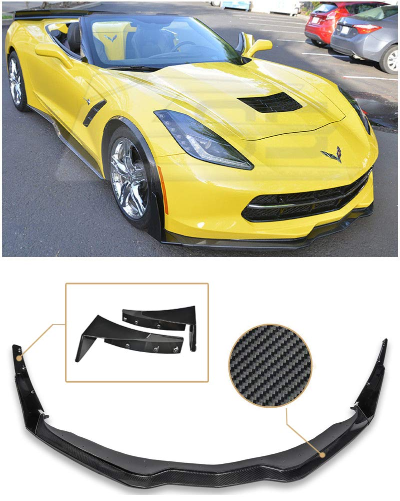 for 2014-Present Chevrolet Corvette C7 | EOS Z06 Stage 3 Style Carbon Fiber Front Bumper Lower Lip Splitter with Carbon Flash Metallic Side Extension Winglets