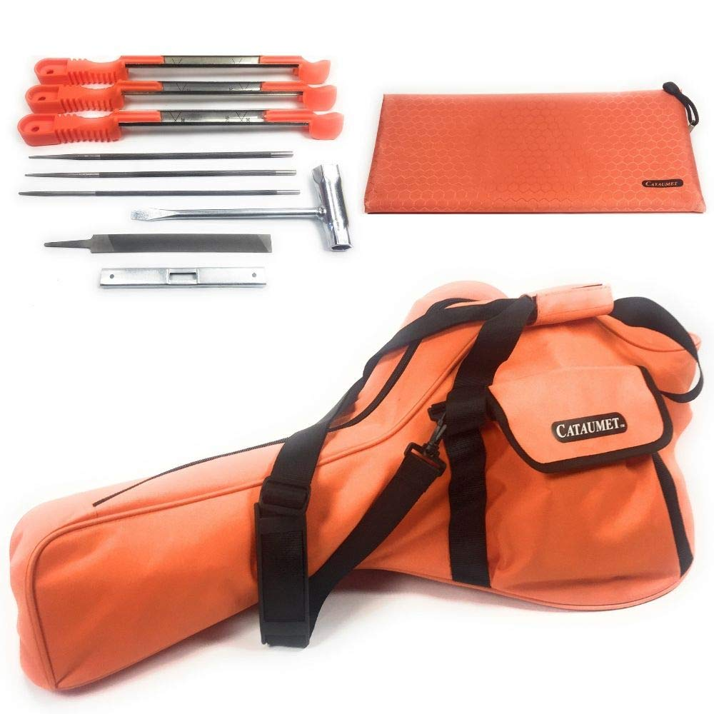 Cataumet Chainsaw Carrying Case Bag Holds 14 16 18 Inch Saws Chain Saw Sharpener File Kit Includes 3 File Sizes 5/32'' 3/16'' 7/32'' with 3 Sharpening Guide Handles Depth Gauge Flat File Wrench by Cataumet