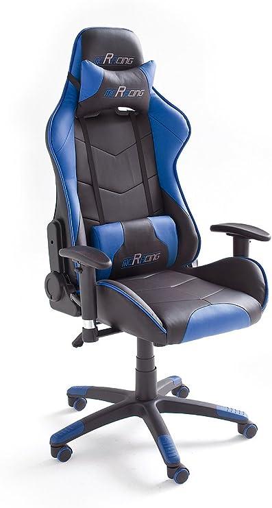 Todo para el streamer: Robas Lund MC Racing 7 Silla de Gaming/Oficina/Escritorio con Asiento Deportivo, Poliéster, Negro y Azul, 58x69x125 cm