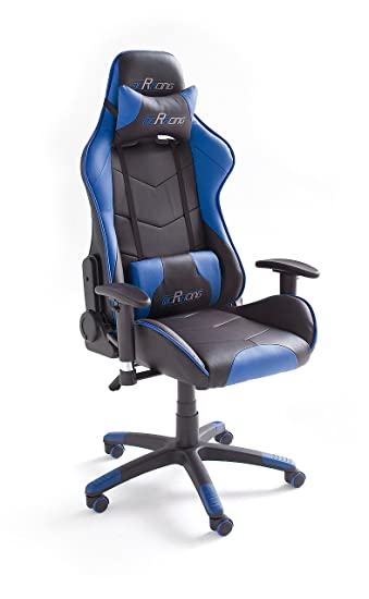 MC Racing 7 Silla de Gaming/Oficina/Escritorio con Asiento Deportivo, Poliéster, Negro y Azul, 58x69x125 cm: Amazon.es: Hogar