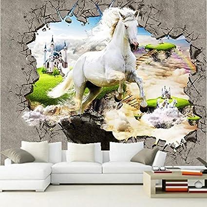 Murales 3d Per Interni.Amazon Com Cavallo Bianco Rotto Foto Parete Murales 3d