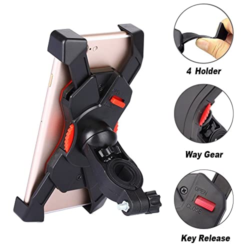 Bike Mount for Phone - Universal Cell Phone Bicycle and Motorbicycle Handlebar Holder Cradle for iPhone 5 5S 5C 6 6S 7, Samsung Galaxy S7 S6 Edge S5 S4, Nexus and Other Smartphones Up To 6.5 Inches