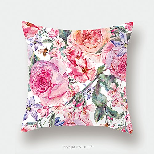 Custom Satin Pillowcase Protector Vintage Garden Watercolor Spring Seamless Background With Pink Flowers Blooming Branches Of Cherry 534495628 Pillow Case Covers Decorative by chaoran
