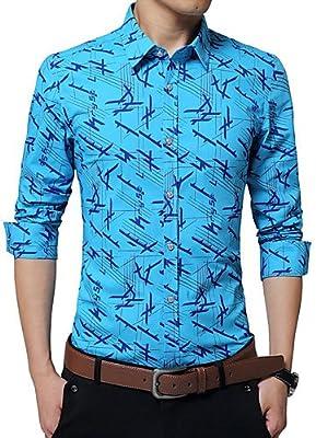 HAN-NMC Mens Plus Size/Primavera otoño Camisa Casual,sólidos geométricos Sleeveblue Largo Collar de la Camisa Blanca y Naranja,Azul,5XL: Amazon.es: Deportes y aire libre
