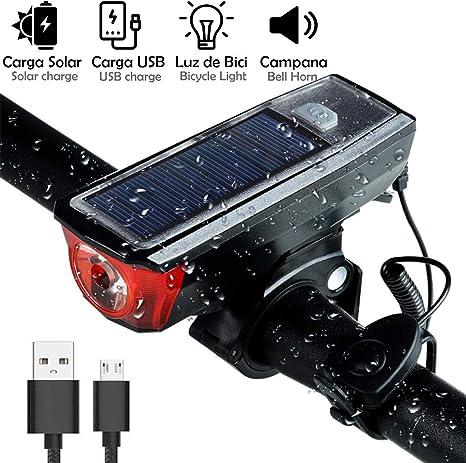 Nudito Luz de Bicicleta Recargable Solar y USB. Linterna Bicicleta ...