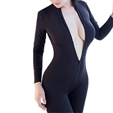 c4fe8f5f9883 Aiybao Women s Sexy Long Sleeve Zipper up Unitard Bodysuit Open Crotch  Lingerie Bodycon Tank One Piece
