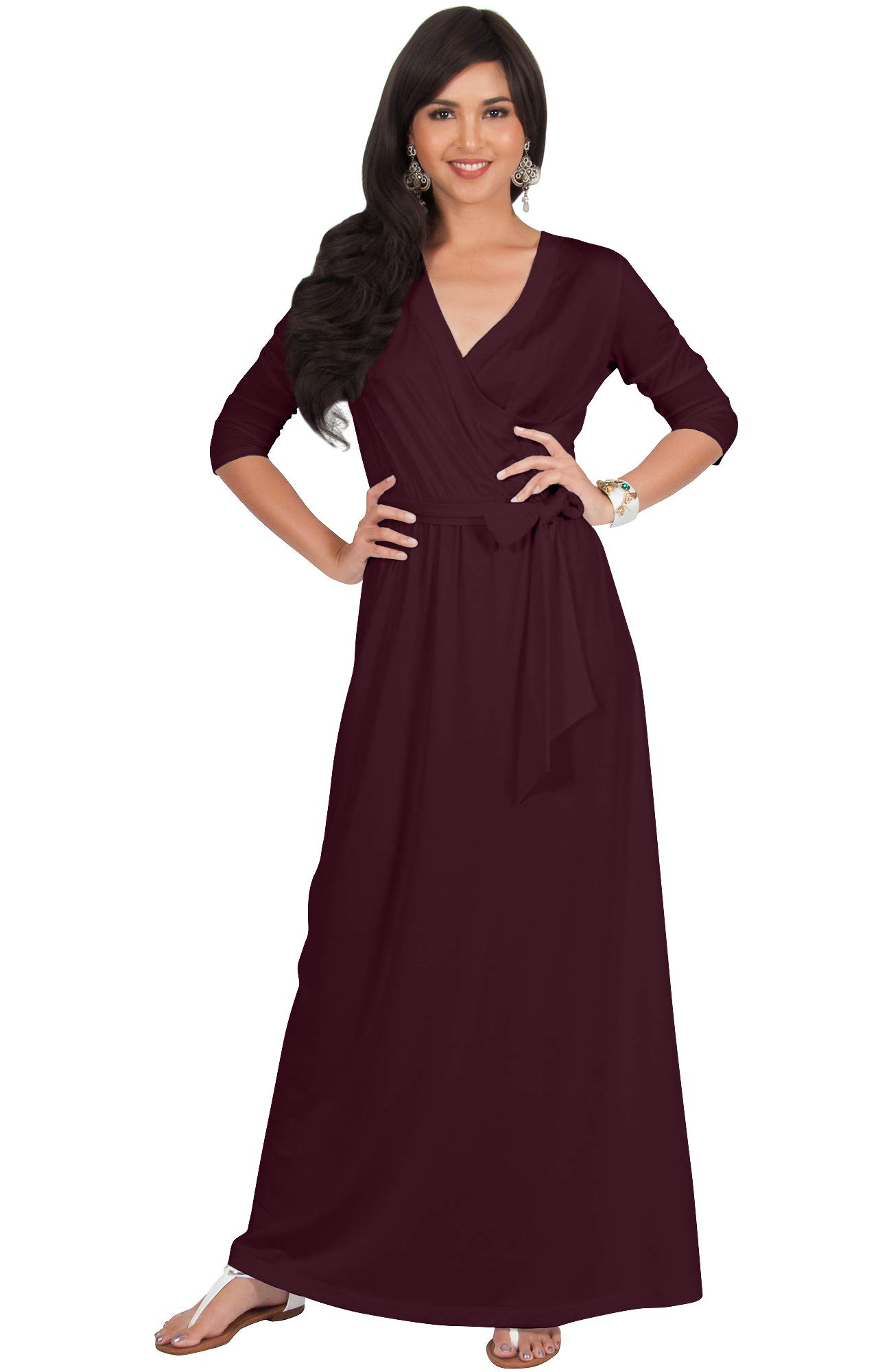 1c59a852db09b KOH KOH Plus Size Womens Long 3/4 Half Sleeve Sleeves Flowy V-Neck Casual  Fall Winter Empire Waist Evening Cute Full Floor-Length Gown Gowns Maxi  Dress ...