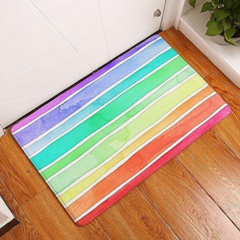 Tool Gadget Watercolor Rainbow Doormat, 24 x 16 Inch, Colorful Super Soft Fur Pet Mat, Non-Slip Bath Mat, Welcome Door - Color Door Mat