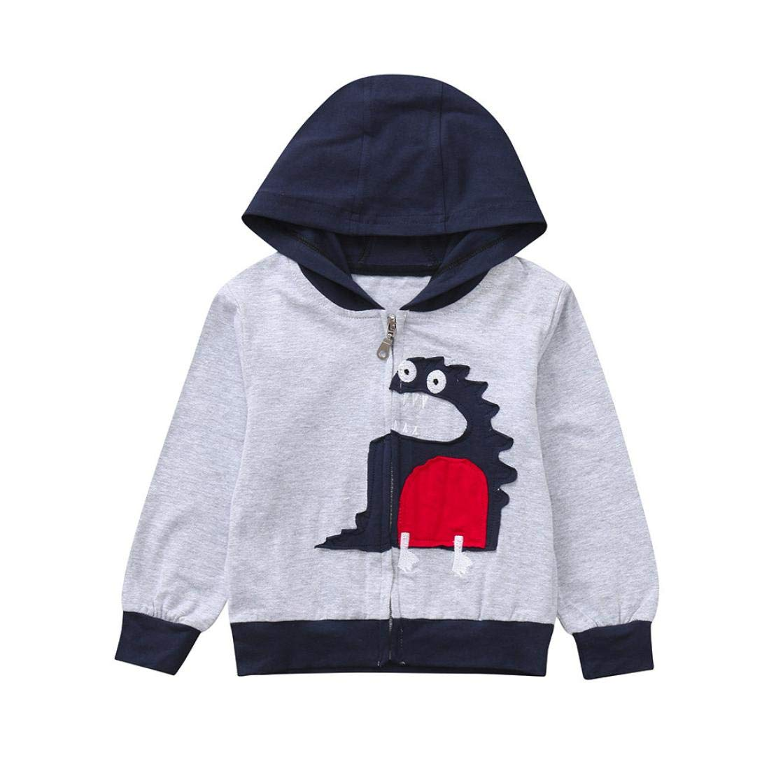 Suma-ma 2Colors Baby Boys Girls Clothes Coat-Cartoon Dinosaur Hooded Zipper Pocket Tops (18M-6T)