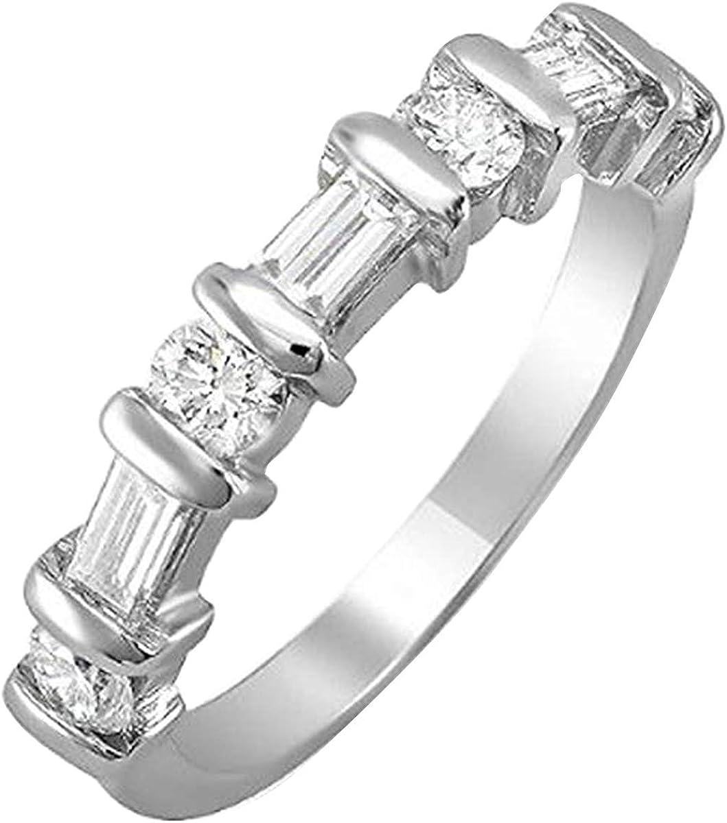 Dazzlingrock Collection 1.00 Carat (ctw) 14k Round & Baguette Diamond Ladies Anniversary Wedding Matching Band 1 CT, White Gold