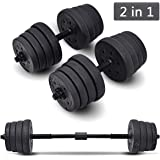 COSTWAY 2 in 1 Dumbbell & Barbell Set 30KG Body Revolution Vinyl Bar Home Gym Fitness Free Weights Non-slip Training - Adjustable Free Weights