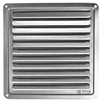 Haco - Rejilla de ventilación (acero inoxidable, 155 x 155 mm)
