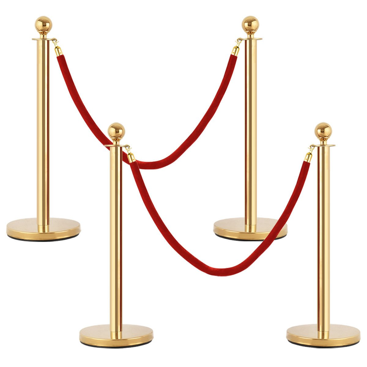KCHEX>>>4Pcs Stanchion Posts Queue Pole Retractable 2 Velvet Ropes Crowd Control Barrier>This is our top stainless steel stanchion posts is anti-rust and flawless and the poles nice and shiny.