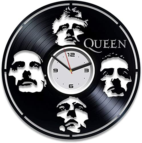 Kovides Queen Vinyl Wall Clock Queen Freddie Mercury Birthday Gift Vinyl Record Wall Clock Queen Vinyl Clock Freddie Mercury Rock Band Music Freddie Mercury Wall Clock Large Gift