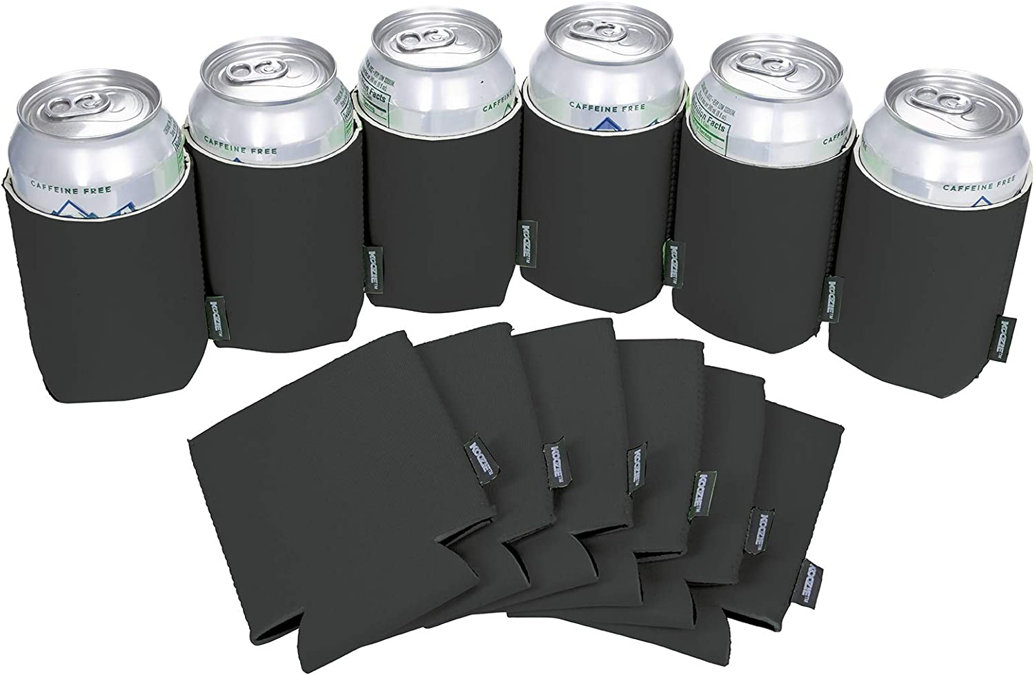 Koozie Can Cooler Blank Neoprene Beer Coozie for Cans, Bulk DIY Insulated 12oz Beverage Holder Personalized Gifts for Events, Bachelorette Parties, Weddings, Birthdays - Pack of 12 Sleeves (Black)