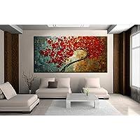 Gbwzz Albero astratto fiore rosso coltello olio su tela bella immagine di arte della parete home decor bel regalo