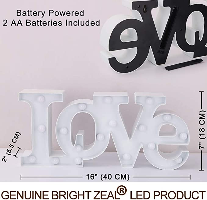 Bright Zeal 16 X 7 Large Love Bedroom Decor Lights Led Marquee Letters White Love Sign For Wall Table Wedding Decorations Lights For Church Romantic Signs For Home Engagement Party