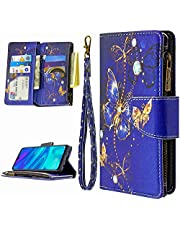 Miagon 9 Card Slots Wallet Case for iPhone 7/8,Colorful Zipper Wallet Cover PU Leather Magnetic Flip Folio Wrist Strap Stand Protective Bumper,Blue Butterfly
