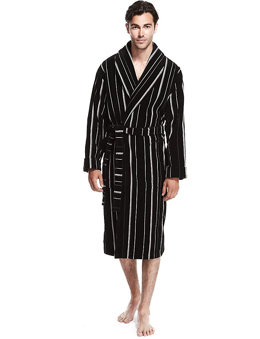 Marks and Spencer Mens Pure Cotton Luxury Velour Dressing Gown M S Bath Robe  RRP £59 (Large 2ec8dad53