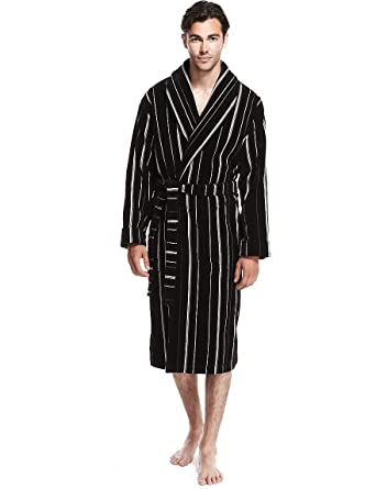 Marks And Spencer Mens Pure Cotton Luxury Velour Dressing Gown Ms